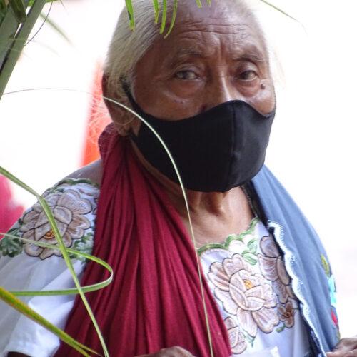 Elderly Mayan Woman in Covid Mask - Valladolid - Yucatan - Mexico